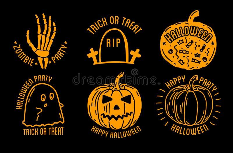 Happy Halloween Logo With Curving Pumpkins Stock Vector - Image ...