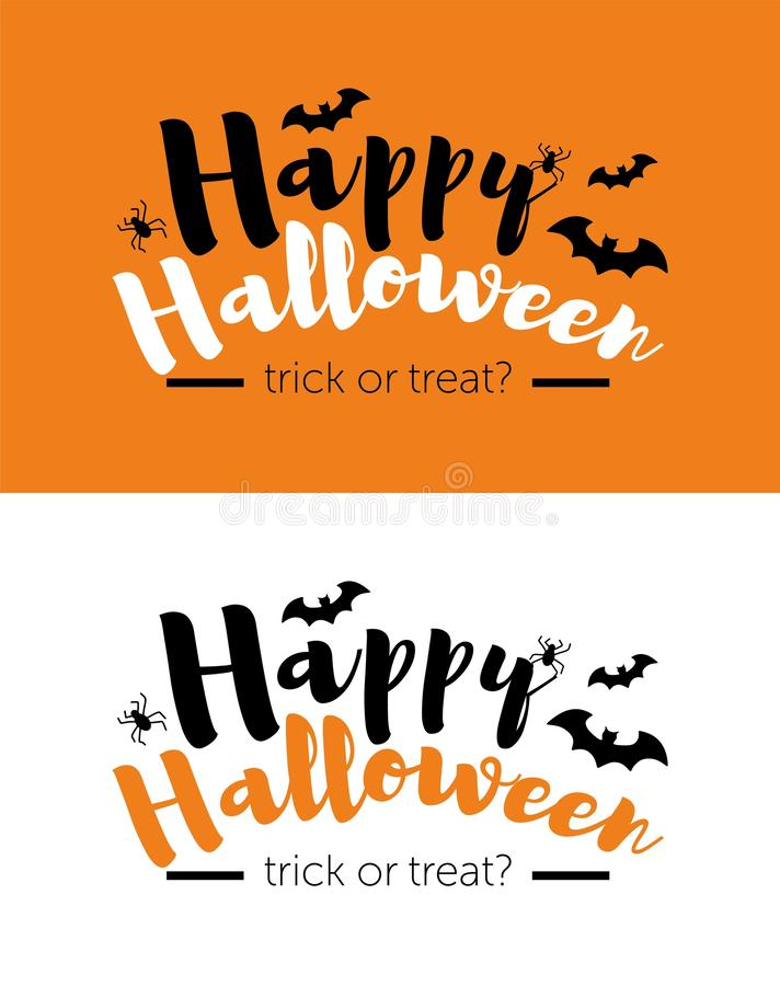 Happy Halloween message design background, vector illustration. text with spider and bat.  stock illustration