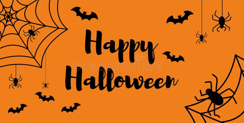 Happy Halloween message design background, vector illustration. text with spider and bat.  royalty free illustration