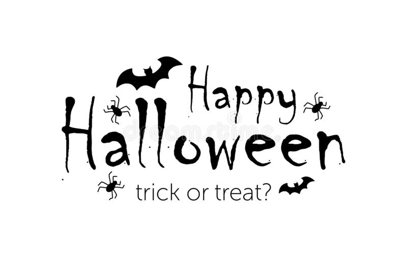 Happy Halloween message design background, vector illustration. text with spider and bat.  vector illustration