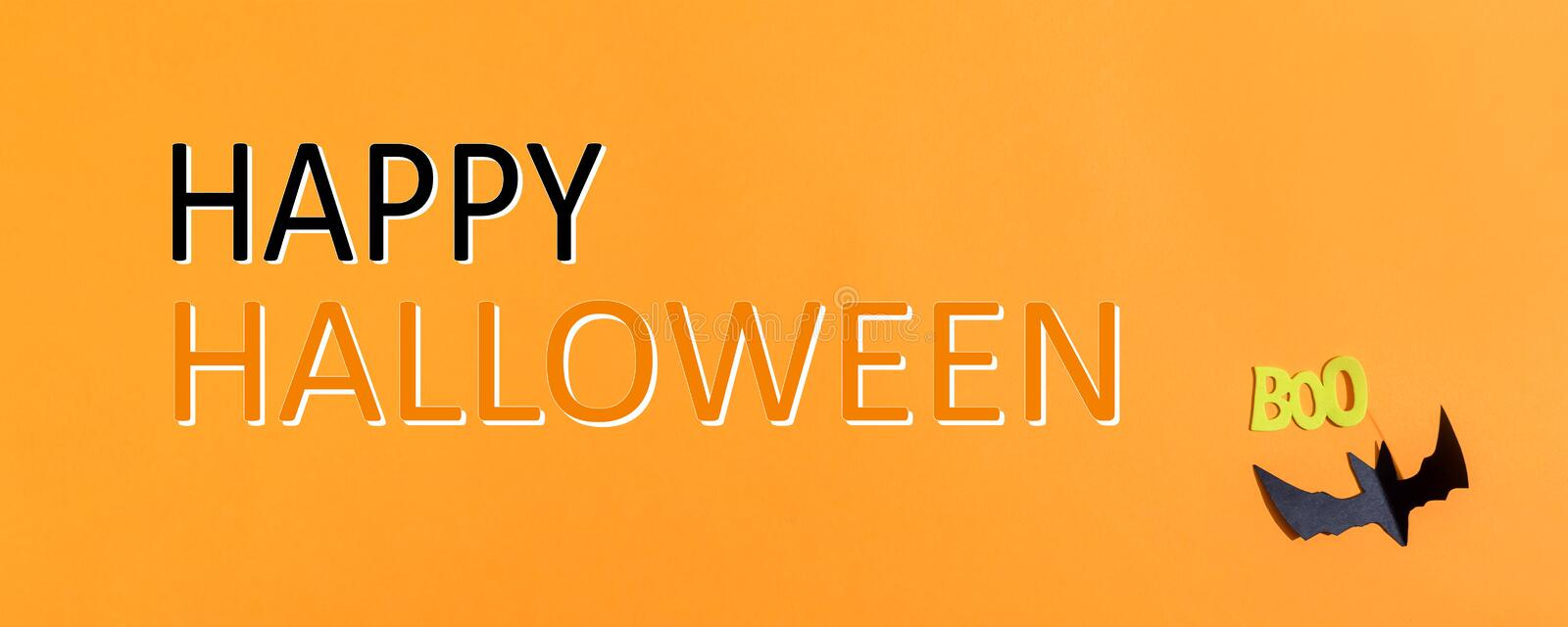 Happy Halloween message with paper bat stock photo
