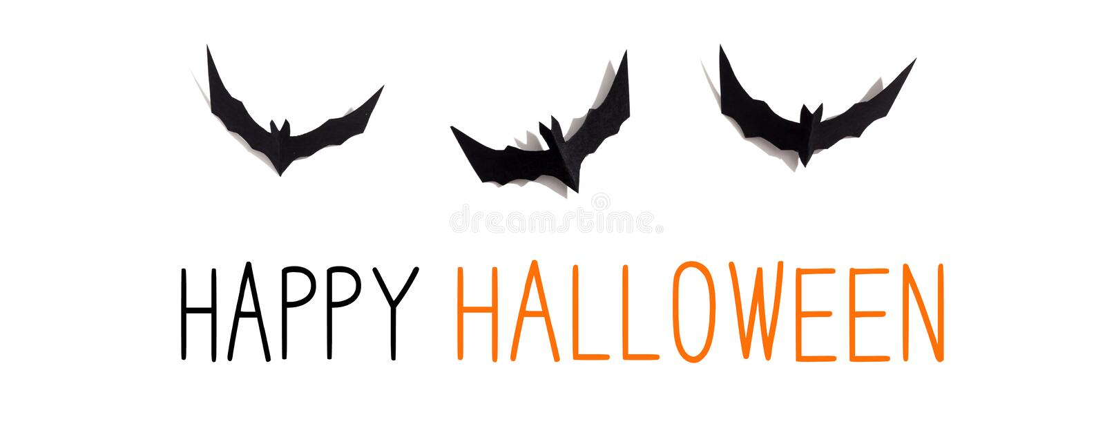 Happy Halloween message with paper bats royalty free stock images