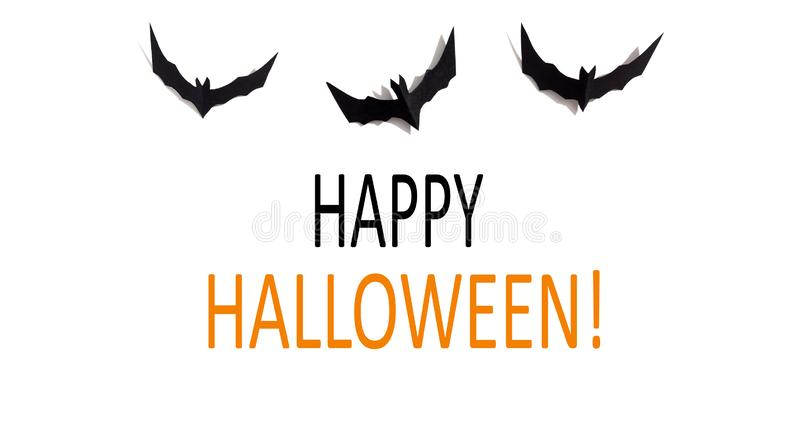 Happy Halloween message with paper bats royalty free stock photo