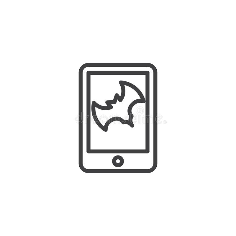 Happy halloween mobile app with bat outline icon. Linear style sign for mobile concept and web design. simple line vector icon. Symbol, logo illustration stock illustration