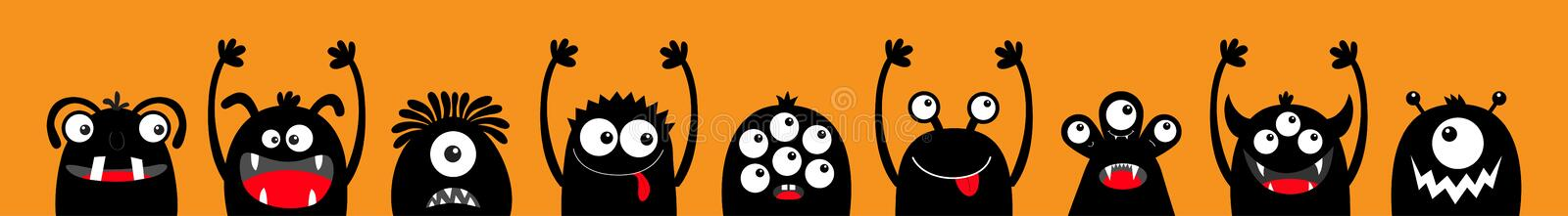 Happy Halloween. Monster black silhouette head face icon set line. Eyes, tongue, tooth fang, hands up. Cute cartoon kawaii scary. Funny baby character. Orange royalty free illustration