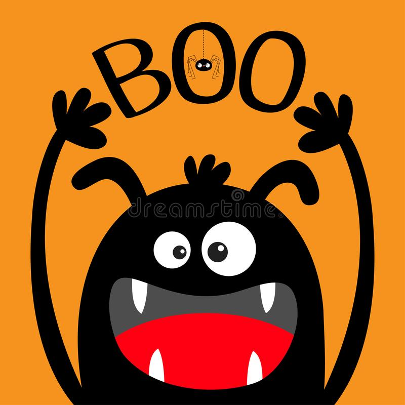 Free Happy Halloween. Monster Head Black Silhouette. Eyes, Ears, Teeth Fang, Tongue, Hands Up. Boo Text. Hanging Spider. Cute Cartoon Stock Photography - 161252322