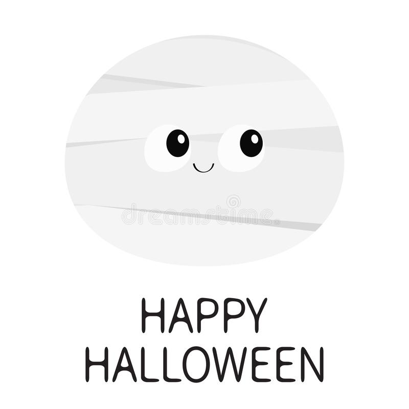 Happy Halloween. Mummy monster round face. Cute cartoon funny spooky baby character. Mum head. Greeting card. Flat design. White b royalty free illustration