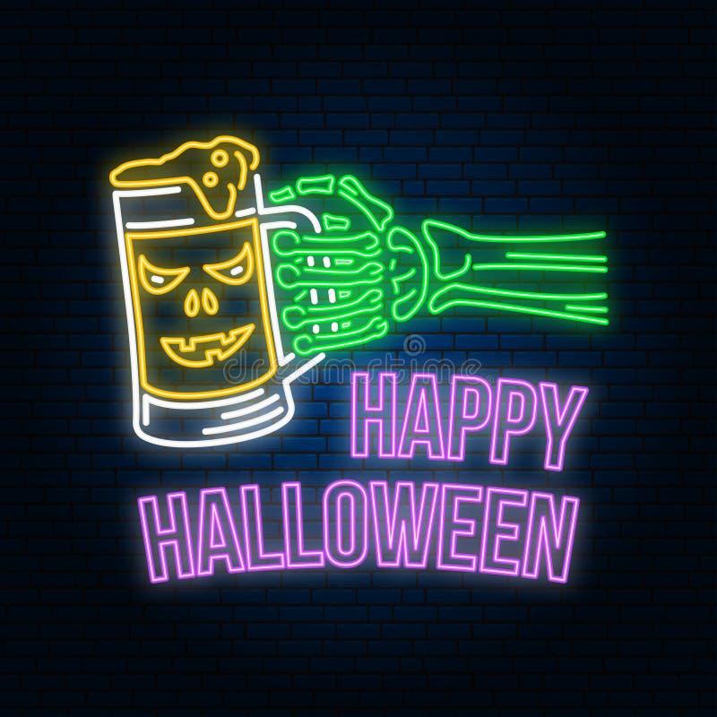 Happy Halloween neon sign or emblem. Vector illustration. Happy Halloween light banner with Skeleton hand stock illustration