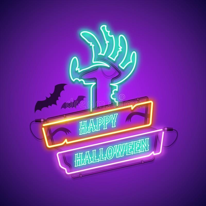 Happy Halloween Neon Sign with Zombie Hand royalty free illustration