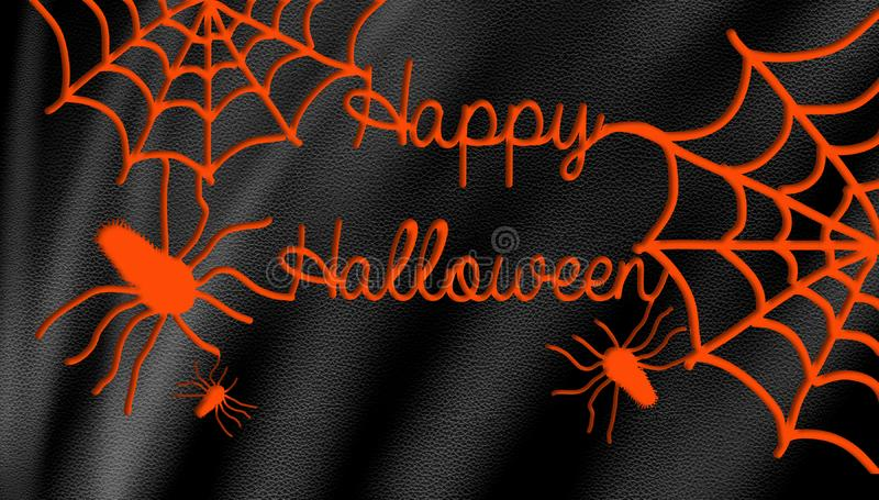 Happy Halloween spiders web on background. Happy halloween night banner with orange silhouette spiders web and black leather background stock photo