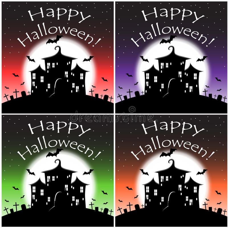 Happy Halloween night with the bats royalty free stock photography