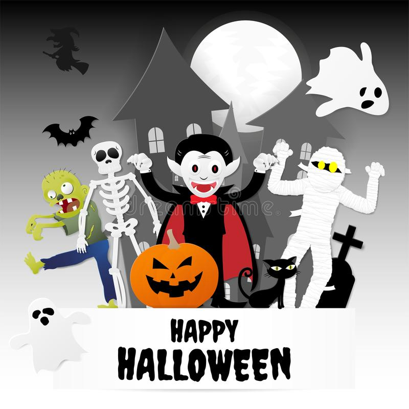 Marvelous Download Happy Halloween Night Party. Set Of Characters In Cartoon Paper  Stock Vector   Illustration
