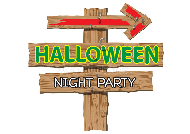 Download Happy Halloween Night Party Sign Wood On White Design For Holiday  Festival Background. Stock