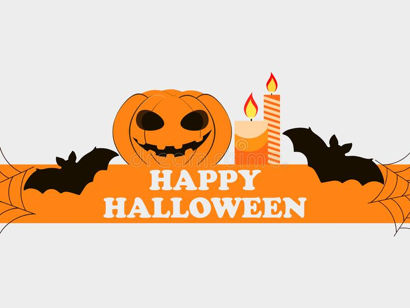 Happy Halloween October 31st. Holiday greeting card with pumpkin, bats and candles. Festive symbols. Vector vector illustration
