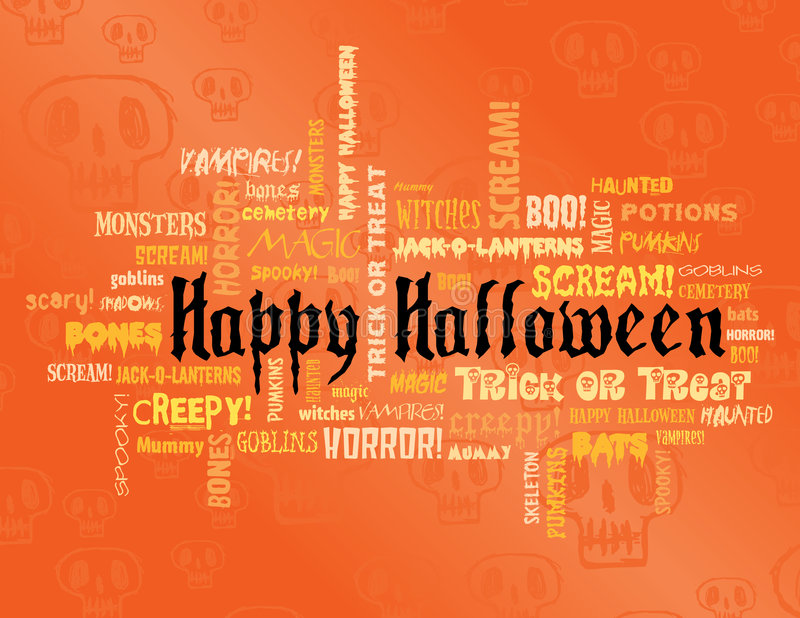 Happy halloween and other scary words vector illustration