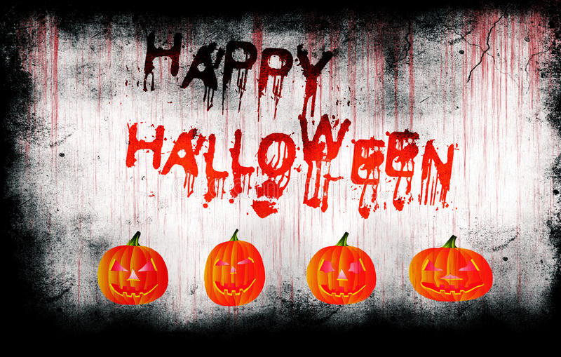 Happy Halloween painted on bloody wall with pumpkins royalty free stock photography