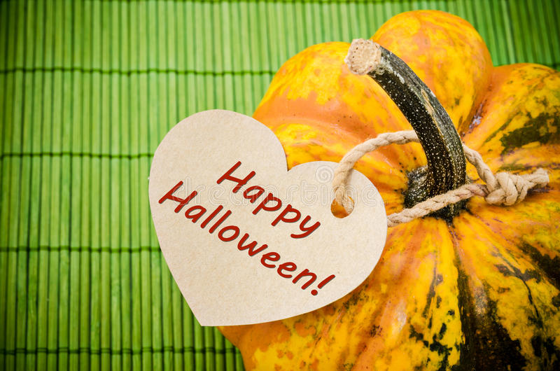 Happy Halloween on paper tag. stock photos