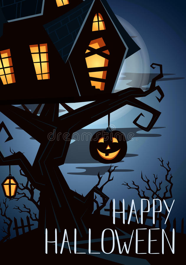 Happy Halloween Party Banner With Spooky Castle On Tree In Mystic Forest At  Night Under Full Moon, Vector Illustration. Halloween Background With  Haunted ...