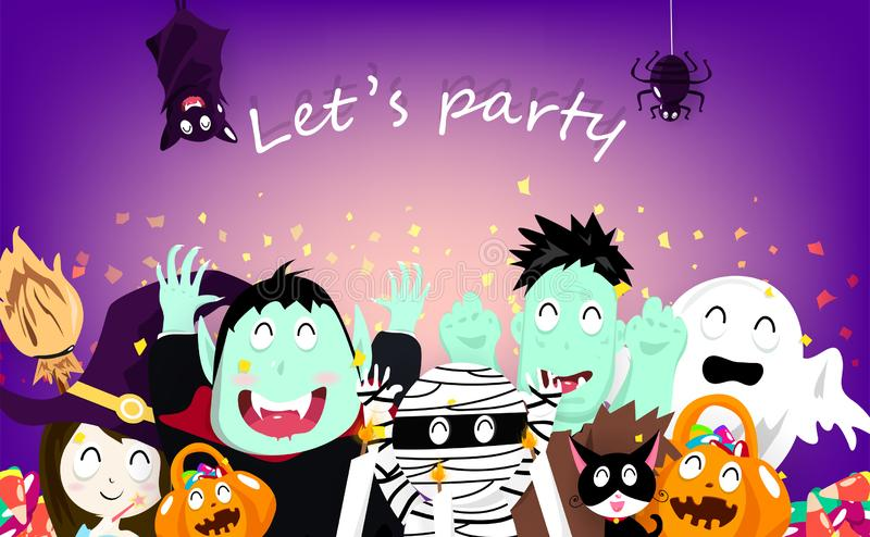 Happy Halloween party celebration, confetti explosion, vampire, pumpkin, mummy, cats, spooky, witch, bats, spider and zombie vector illustration