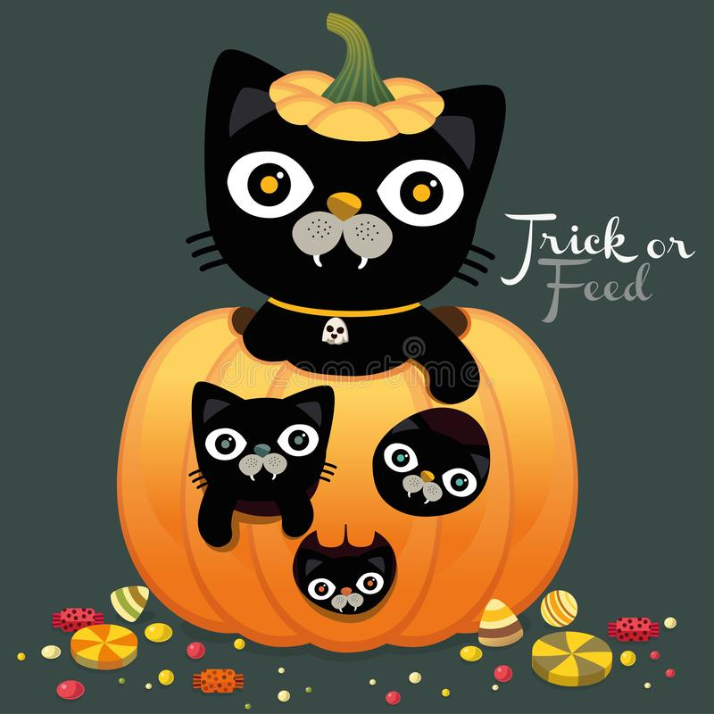 Happy Halloween party with cute black cats card, Trick or treat, trick or feed, character Vector, illustration. Place for your tex royalty free illustration