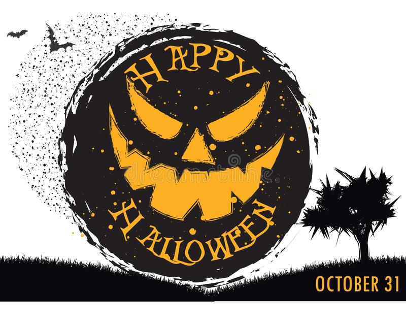 Happy halloween party, enter if you dare vector illustration