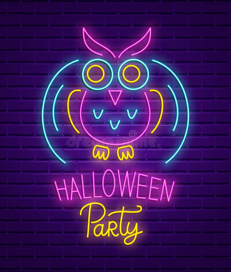 Happy Halloween party neon sign. Bright light banner vector illustration