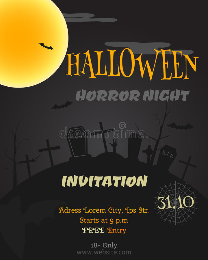 Happy Halloween party poster, flyer, banner royalty free illustration