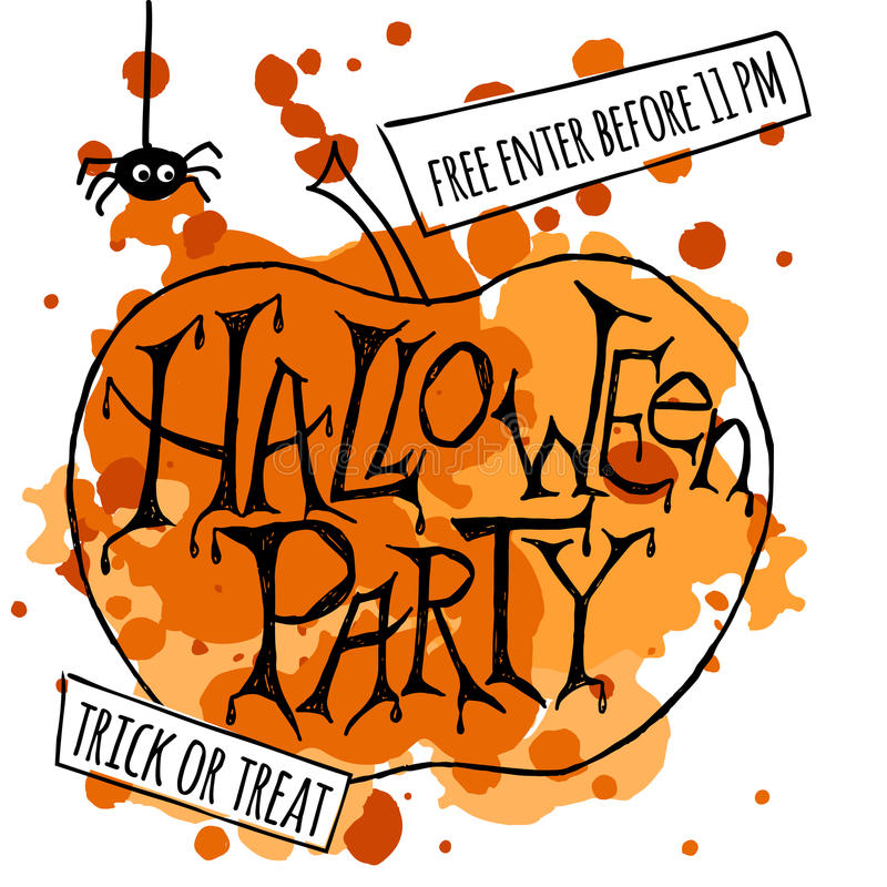 Happy Halloween Party Poster Vector Illustration Stock