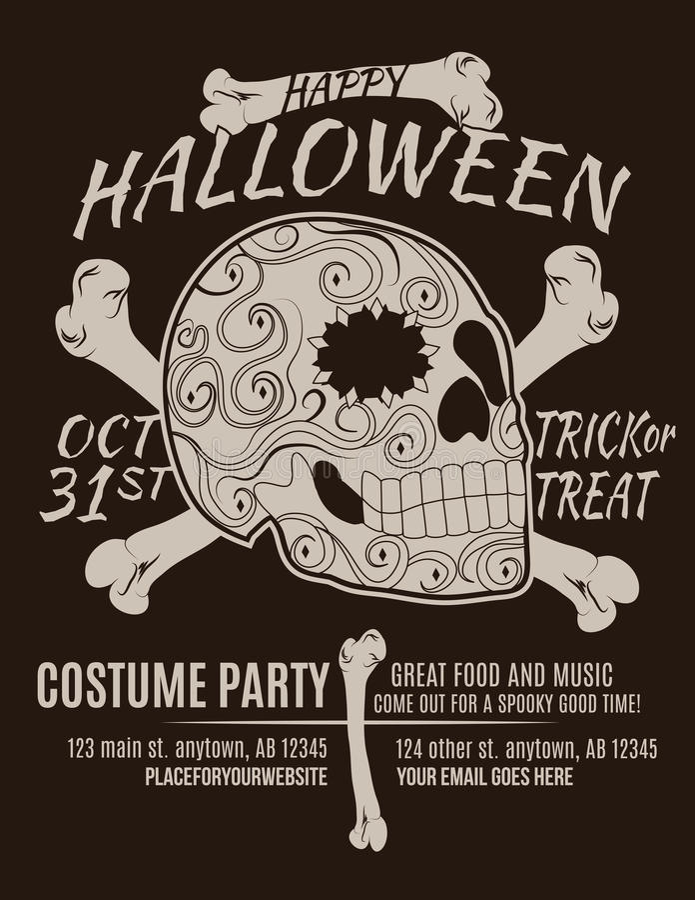 Happy Halloween Party Skull Flyer. Happy Halloween Party Flyer with Sugar Skull and Bones vector illustration