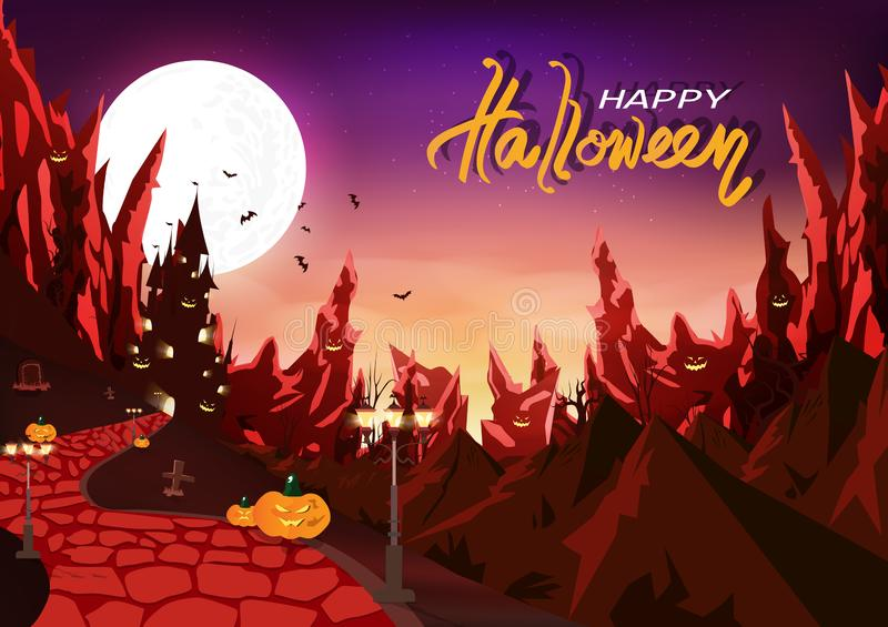 Happy halloween party, vampire bloody night, mystic castle silhouette fantasy with wasteland mountains, supernatural creative vector illustration