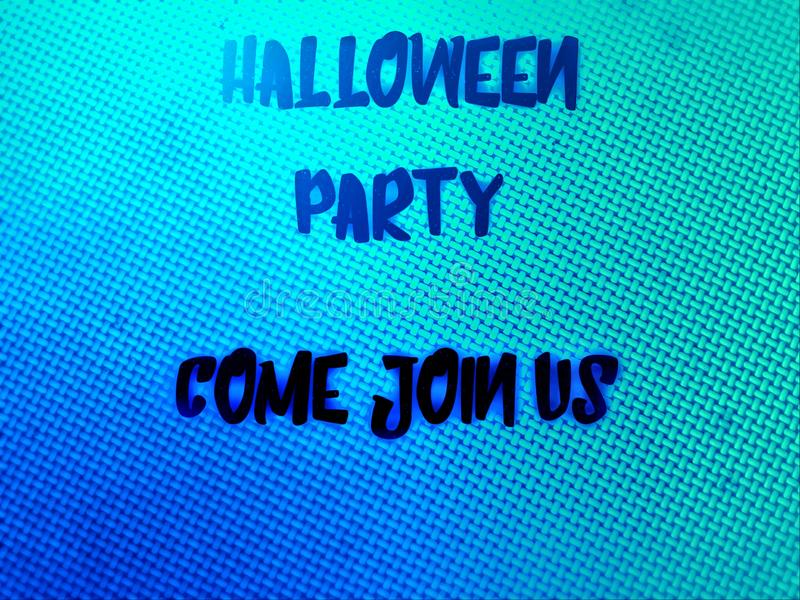 Happy halloween party invitation word in blurry colourfull background. Happy halloween party word in blurry defocus dotted colourfull background stock image