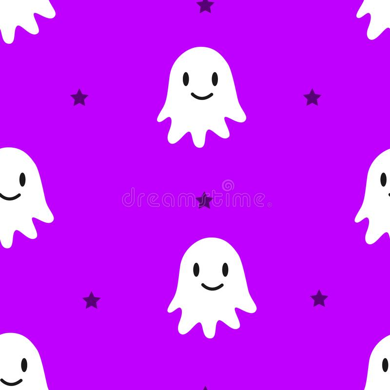 Happy Halloween pattern with cute ghosts and stars on violet background. vector illustration