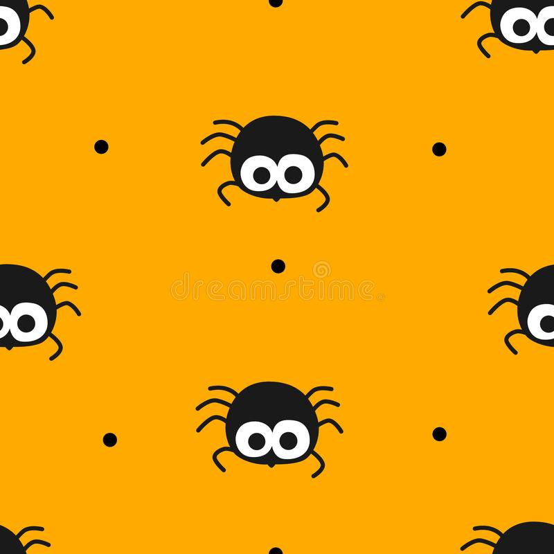 Happy Halloween pattern in polka dot with cute spider on orange background. royalty free illustration