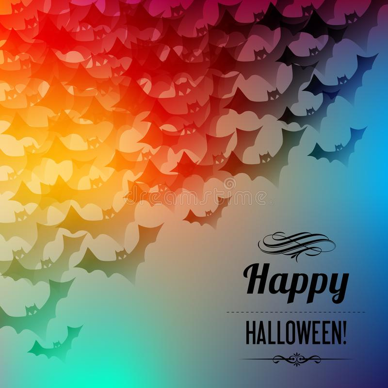 Happy Halloween postcard with black bats in the corner on a rainbow background. stock illustration