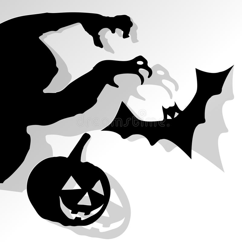 Happy Halloween postcard with monster pumpkin and bat black on a white background. stock illustration