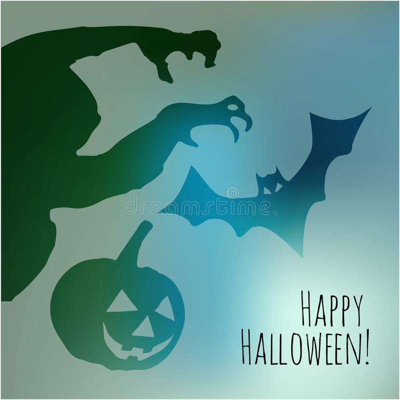 Happy Halloween postcard with monster pumpkin and bat shadows on a blue bokeh fog background. royalty free illustration