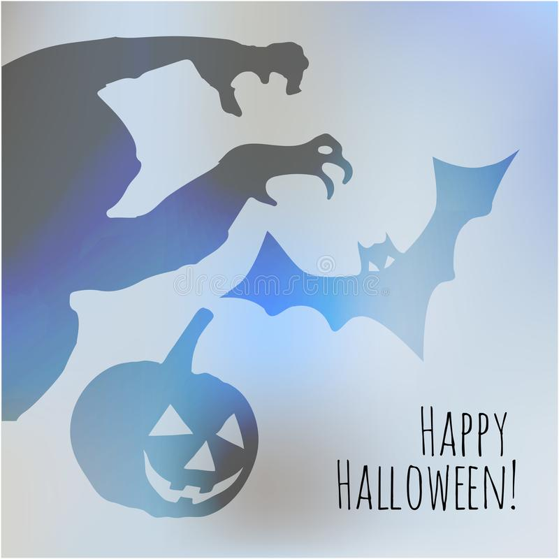 Happy Halloween postcard with monster pumpkin and bat shadows on a light blue bokeh fog background. royalty free illustration