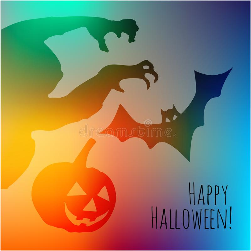 Happy Halloween postcard with monster pumpkin and bat shadows on a rainbow background. royalty free illustration