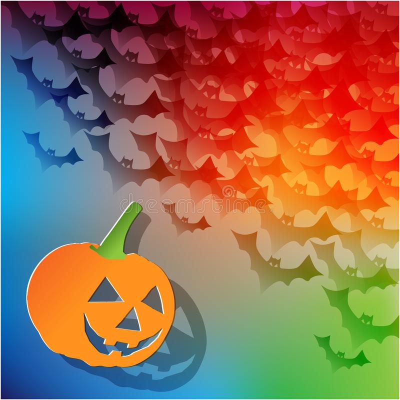 Happy Halloween postcard with pumpkin and bats in the corner on a rainbow background. stock illustration