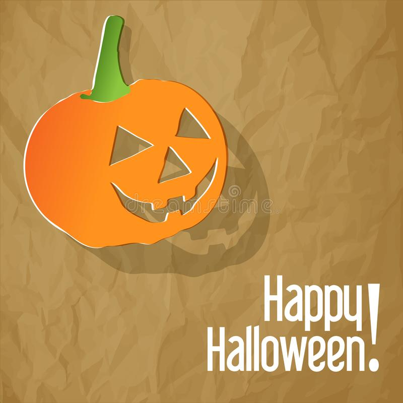 Happy Halloween postcard with pumpkin on a crumpled paper brown background. stock illustration