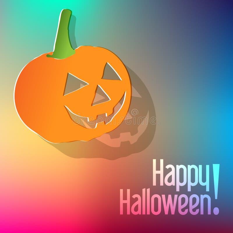 Happy Halloween postcard with pumpkin on a rainbow background. vector illustration