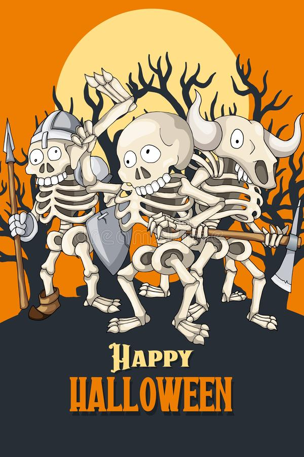 Happy Halloween postcard template. Party of skeletons in different poses. Happy Halloween party invitation postcard template. Cartoon Character Human Undeads royalty free illustration