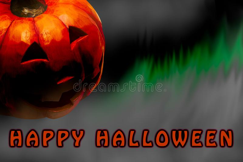 Happy Halloween poster with copy space for text. With carved pumpkin head royalty free stock photo