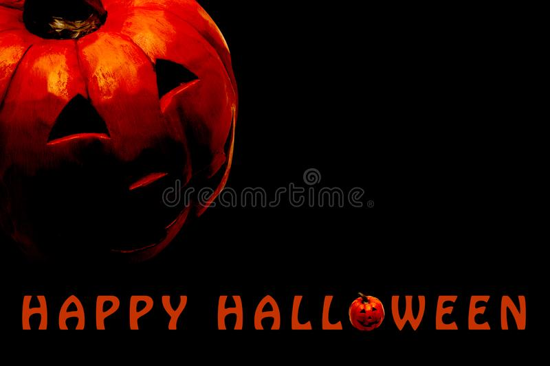 Happy Halloween poster with copy space for text. With carved pumpkin head stock image