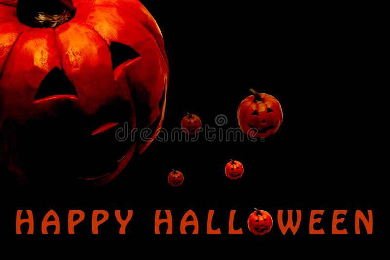 Happy Halloween poster with copy space for text. With carved pumpkin head stock photos
