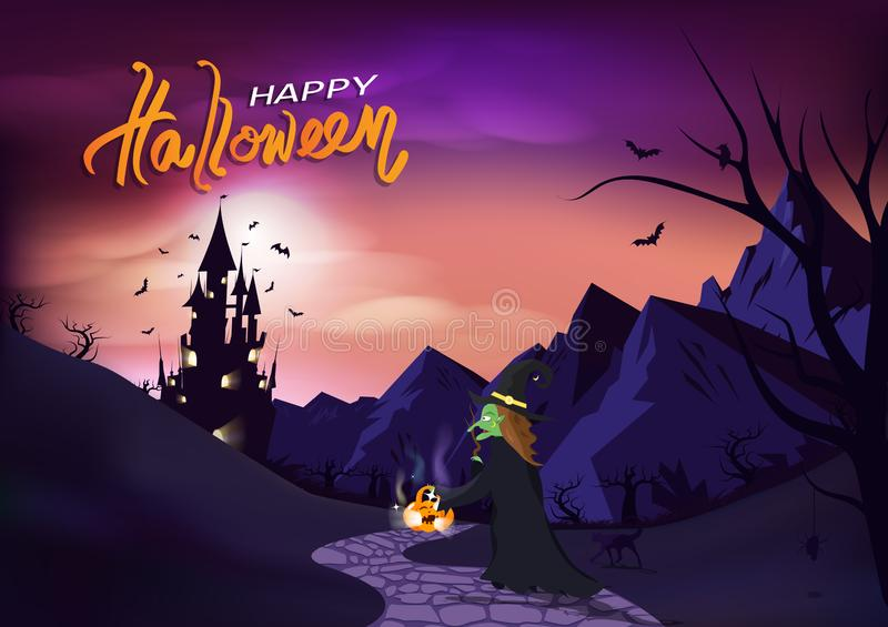 Happy Halloween, poster invitation greeting card, witch and cat walk to castle, fantasy concept horror story pink pastel vector illustration