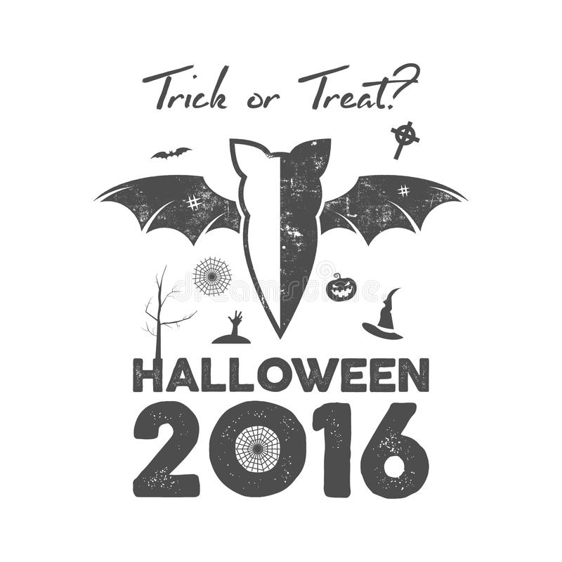 Happy Halloween 2016 Poster or poster. Trick ot treat lettering and halloween holiday symbols - bat, pumpkin vector illustration