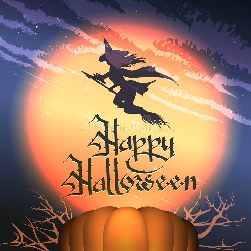 Happy Halloween Poster with Pumpkin and Flying Witch royalty free stock image