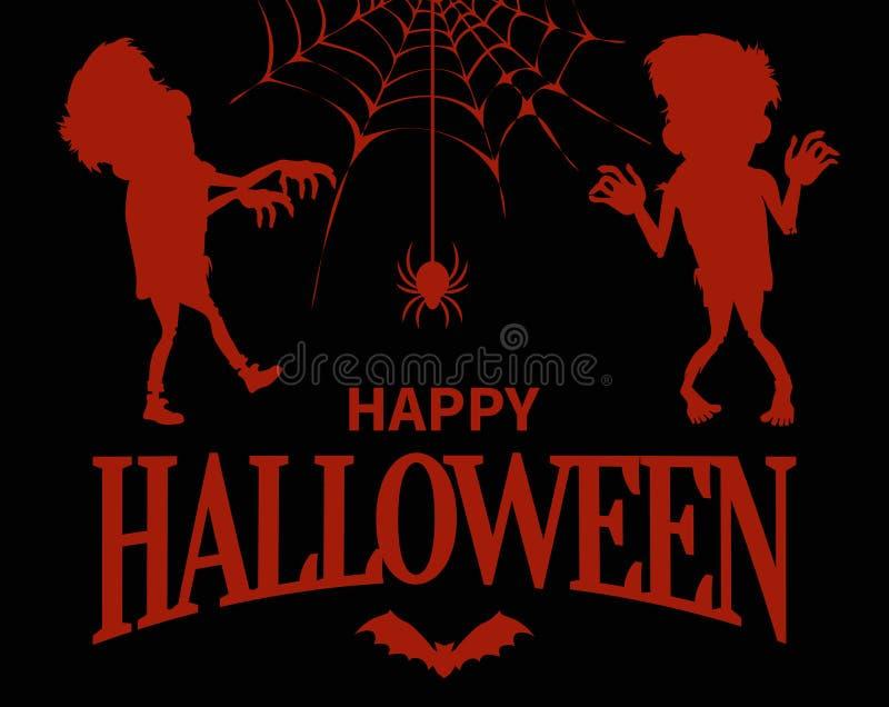 Happy Halloween Silhouettes on Vector Illustration stock illustration