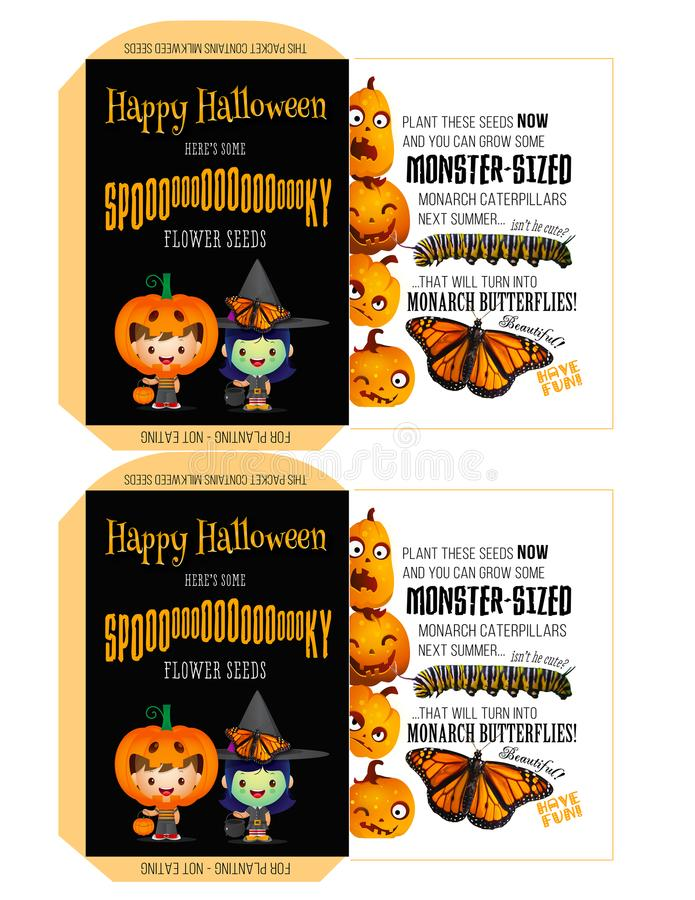 Spooky Seeds for Halloween - Trick-or-Treaters royalty free illustration